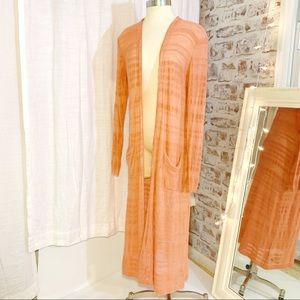 MOTH Coral Early Sun Duster Cardigan M